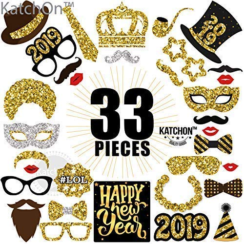 Katchon New Years Photo Booth Props Pack Of 33 Real Glitter 2019