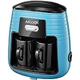 Aicook Macchina caffe, Macchina Caffe Americano, Macchina Caffe Portatile con Design Compatto, Mini Macchina Caffe con 2 Tazze in Ceramica, Blu