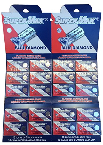 Supermax Blue Diamond Platinum Double Edge Razor Blades (100 Blades) (Super Max Razor Blade)