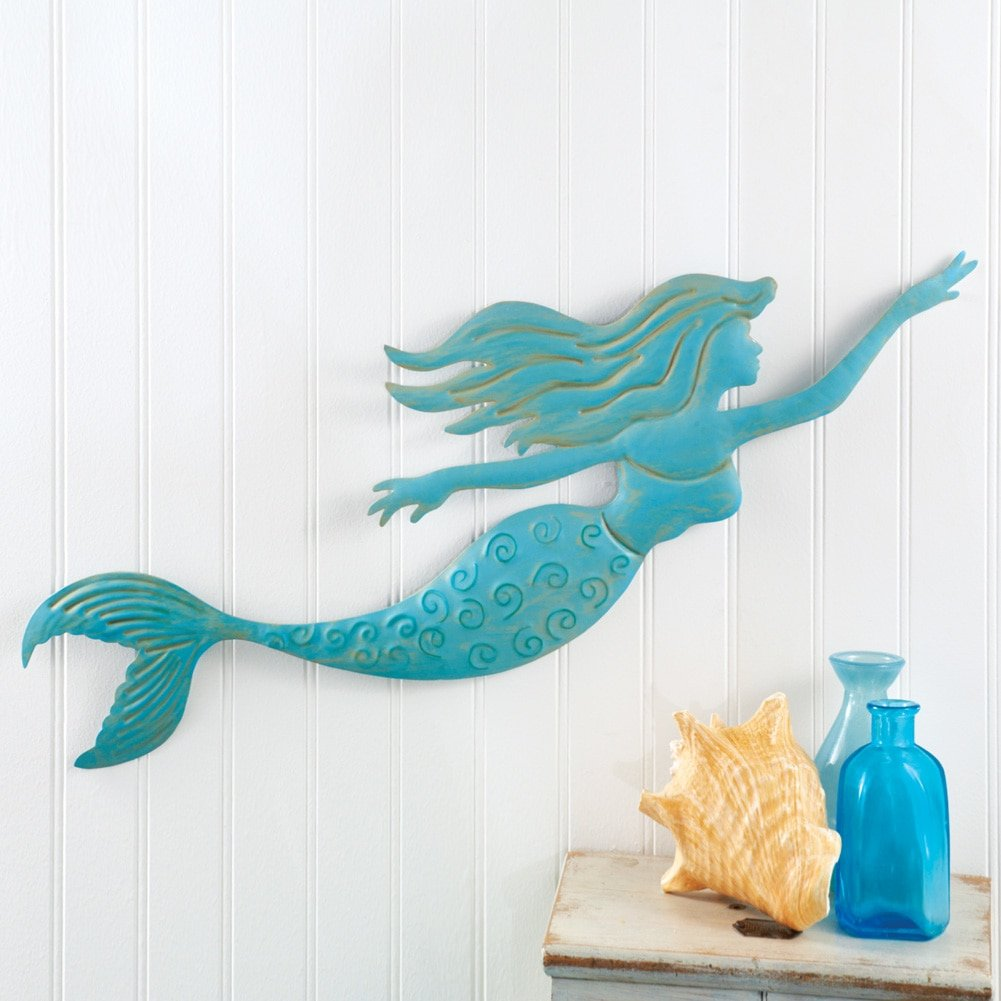 Amazon.com: Collections Etc Metal Blue Mermaid Wall Art: Home & Kitchen