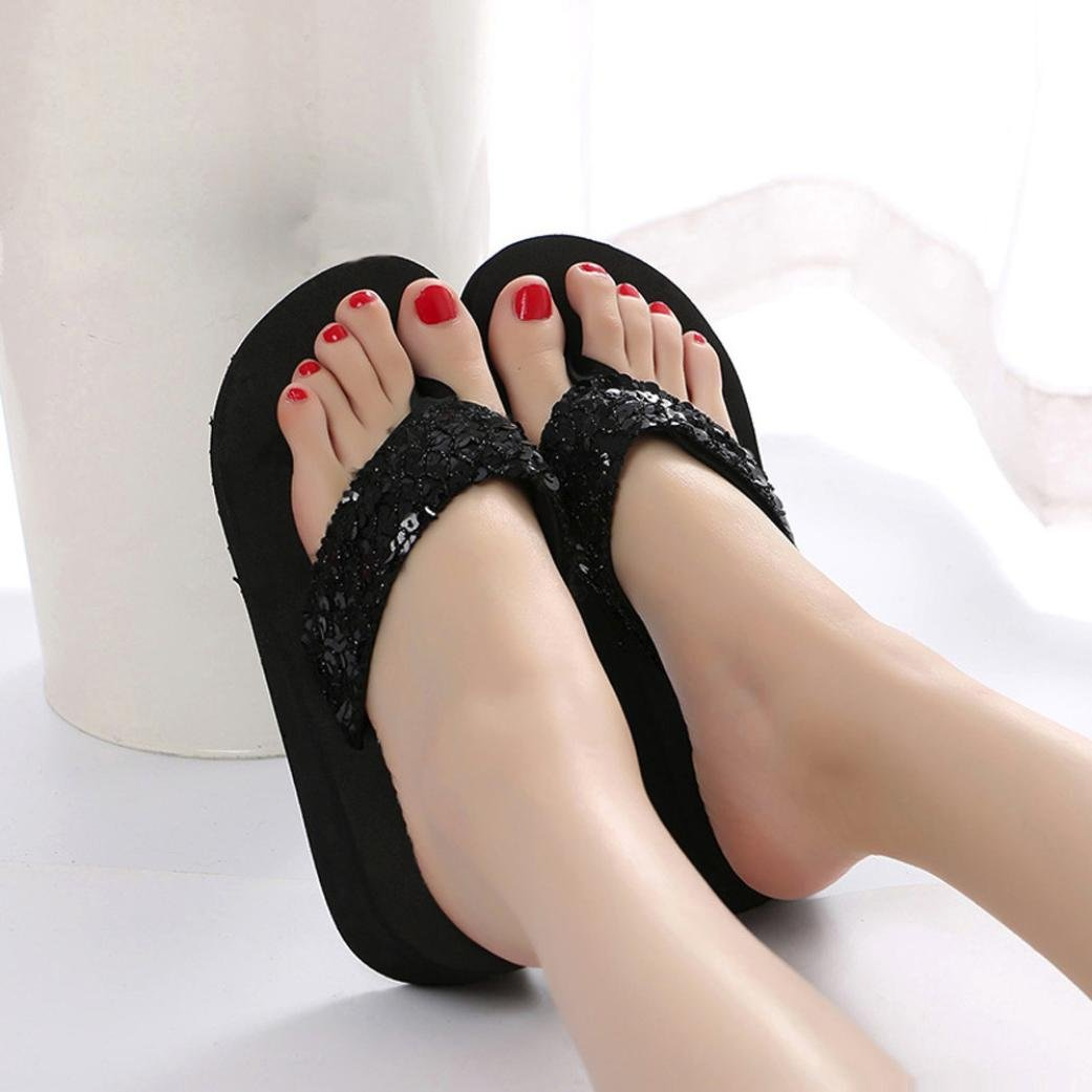 6fb84af46b3c Amazon.com  Baigoods Women s Summer Sequins Bling Anti-Slip Sandals Slope  Slipper Indoor   Outdoor Fashion Flip-flops  Home Audio   Theater