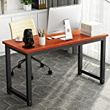 55'' Computer Desk , LITTLE TREE Large Office Desk Study Writing Desk / Table Workstation for Home Office, Metal Frame(Teak)