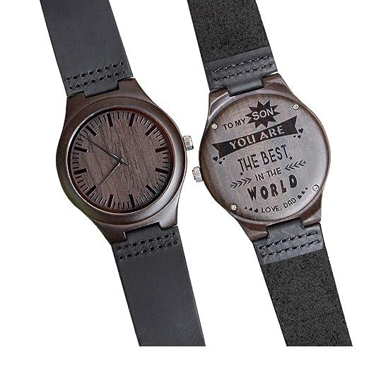Relojes de Madera Grabados para Hombre, Madera de ébano Natural, Reloj Grabado para Marido