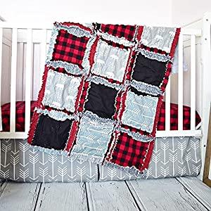 Image of Bear Crib Set - Gray/Red Plaid - Adventure Baby Bedding with Quilt, Skirt, Sheet Home and Kitchen