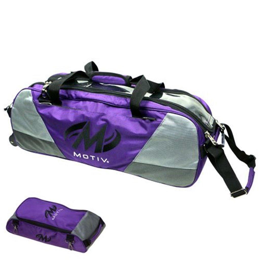 Motiv Ballistix Triple Tote Roller Bowling Bag with Shoe Bag- Purple