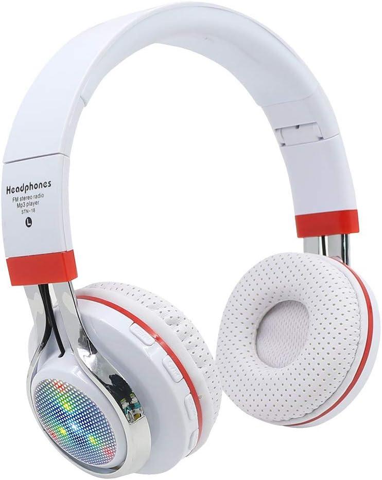 Han Shi Wireless Bluetooth Headphones Foldable Lightweight Over Ear Headsets with Microphone, Soft Earpads Deep Bass Stereo Earphone for Sport, Work, Travel #BAO0120-012(White)