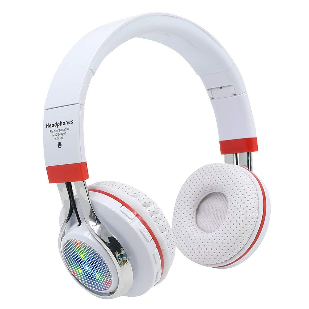 Sonmer STN-18 Wireless Bluetooth 4.1 Noise Cancelling Stereo Foldable Over Ear Headphone,for Iphone Android Smartphone Tablet PC,With Microphone FM Function (White)