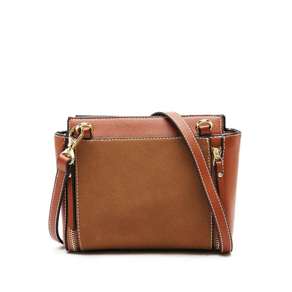 Sunmiao Simple Retro Zipper Wings PU Shoulder Bag Messenger Bag Brown