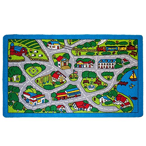 Kids Rugs Street Map in Grey 8' X 11' Childrens Area Rug - Non Skid Gel Backing (7'10'' X 11'3'') by Mybecca (Image #2)