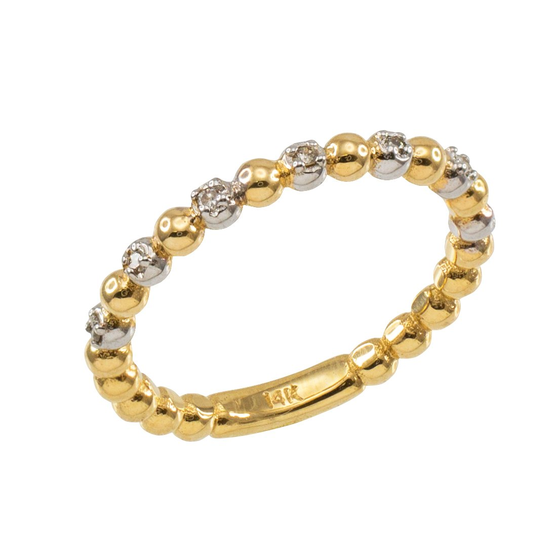 Fine 10k Two-Tone White and Yellow Gold Beaded Stackable Ring with Natural Diamonds (Size 4)