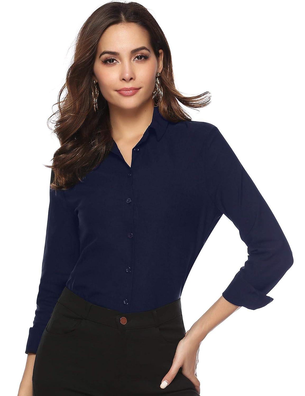 Abollria Damen Bluse Basic Stretch Hemdbluse Elegante Langarm Business Blusen Button Down f/ürs B/üro