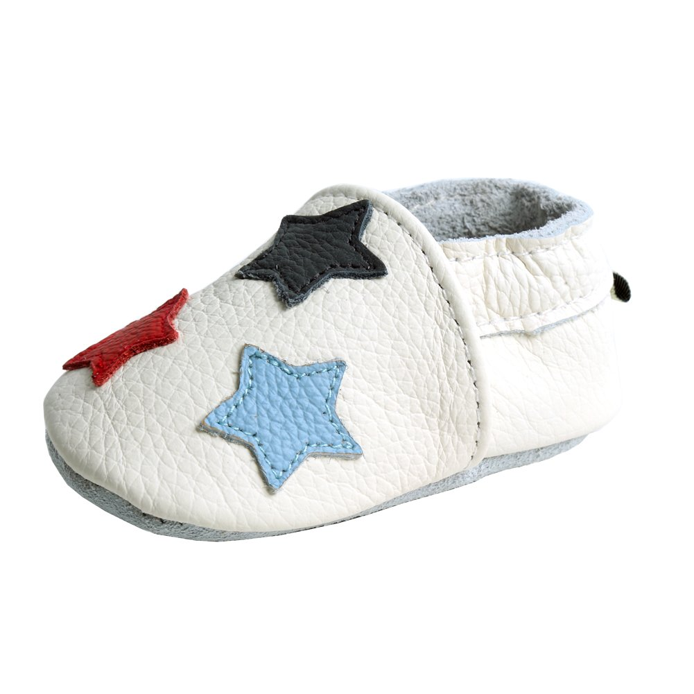 0d5c1e033eed1 iEvolve Stars Baby Shoes Baby Toddler Soft Sole Prewalker First Walker Crib  Shoes Baby Moccasins(White, 12-18 Months)