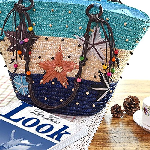 Holiday Handbag Shoulder Woven Aediea Straw Handbags Casual Women Totes Hawaii Beach wXXq764