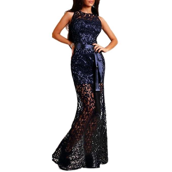 ABILIO - vestito donna lungo pizzo blu abito sera vestitino donna abiti sexy  ROSSO carpet BLU M  Amazon.it  Abbigliamento 60dda440ecb