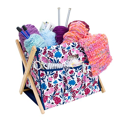 Everything Mary Deluxe Fold-Up Wooden Yarn Arts Caddy - Organization Storage for Knitting, Yarn, Crotchet - Yarn & Notions Organization - Tangle Free Yarn Caddy Bag Organizer for Tools & Travel by Everything Mary
