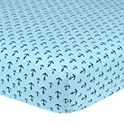 Gerber 100% Cotton Fitted Crib Sheet, Anchors