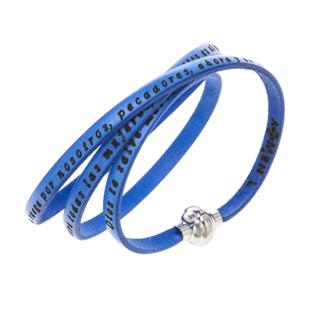 Amen Bracelet in blue leather Hail Mary SPA, 60 cm (23.64 inc.)