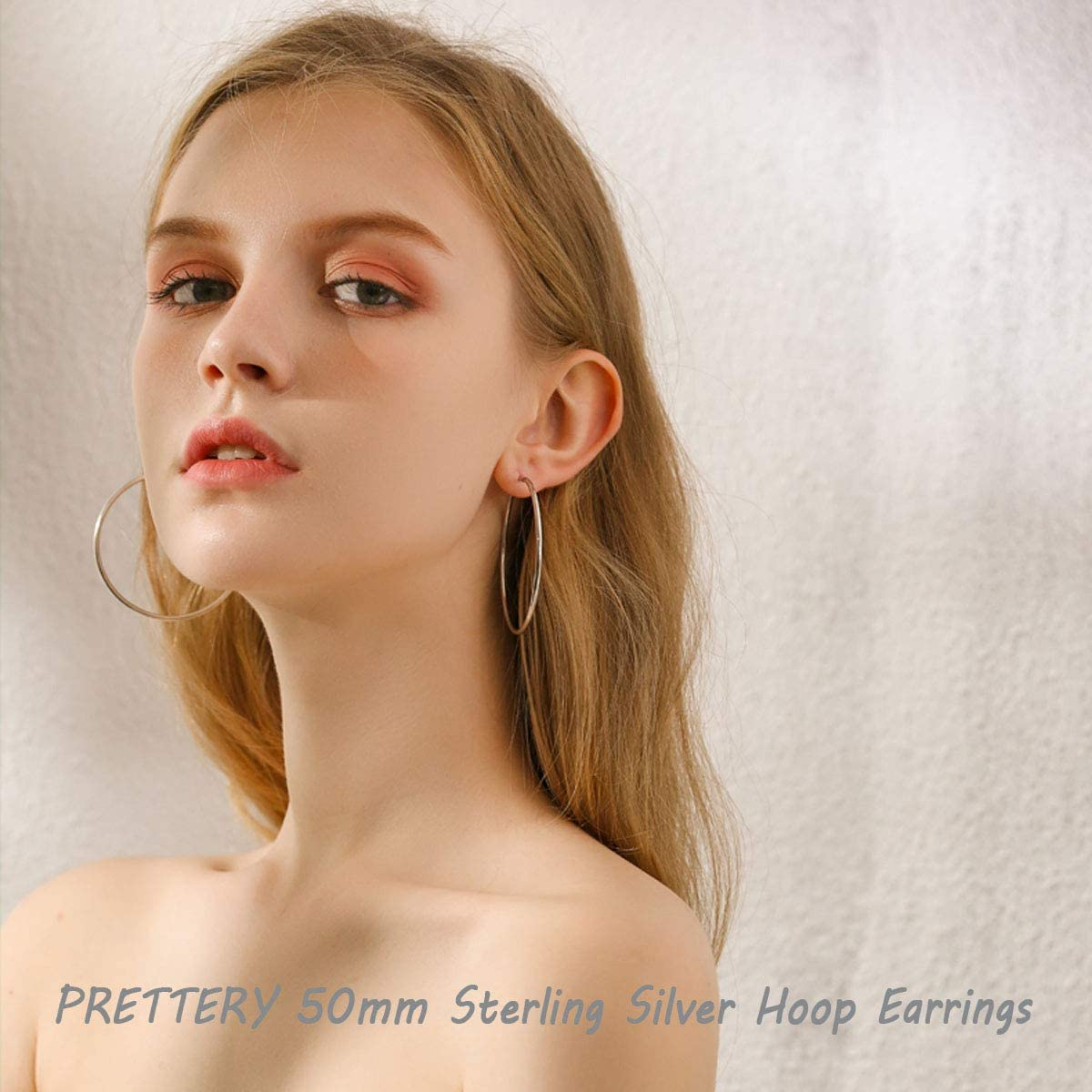 Diam/ètre 30mm 40mm 50mm 60mm PRETTERY Cr/éoles en Argent Sterling 925 Boucles doreilles Grand Cerceau Rondes Polies Bijoux Cadeaux pour Femmes Filles