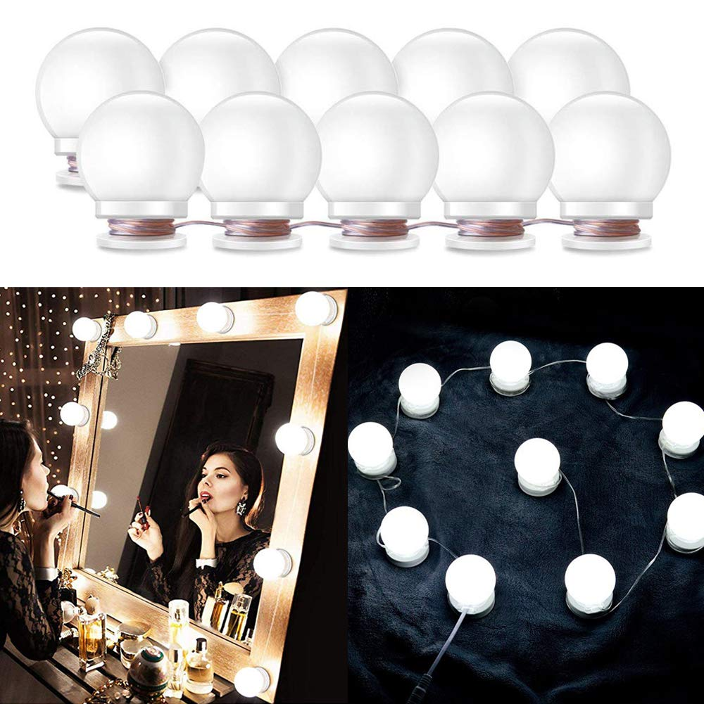 Ciojio Hollywood Style LED Vanity Mirror Makeup Lights Kit 10 Led Bulbs with Touch Dimmer and Memory Function, Hidden Rotating Fixture Strip for Dressing/Cosmetic Table, Bathroom