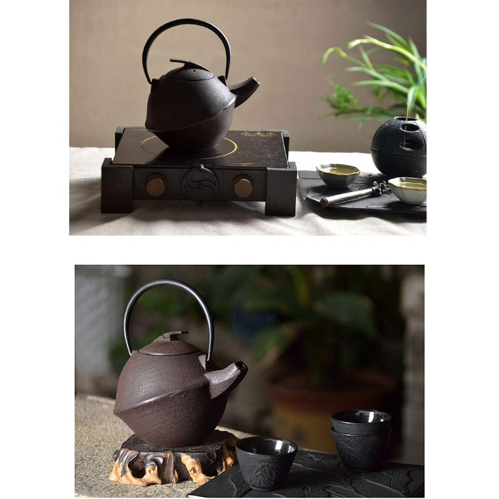 Round Vintage Iron Teapot with Strainer, Cast Iron Teapot with Infuser 0.8L, Suitable for Induction Cooker, Electric Ceramic Stove, Natural Gas, Charcoal Fire by the teapot company (Image #7)