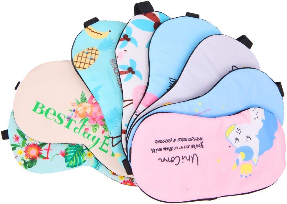 Juego de 8 antifaces con diseño de unicornio y flamenco, para dormir, viajes, siestas, fiesta de pijamas...