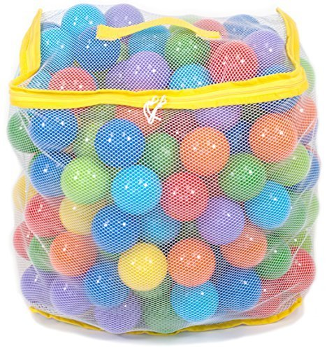 200 Wonder Playball Non-Toxic Crush Proof Quality Pit Balls w/ Mesh Bag: 8 Colors ()