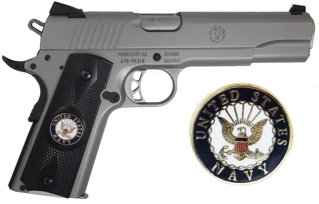 Garrison Grip 1911 Colt Full Size and Clones (Grips ONLY) with US Navy Porcelain Medallion Set in Ebony Black Color Polymer Double Diamond Grips
