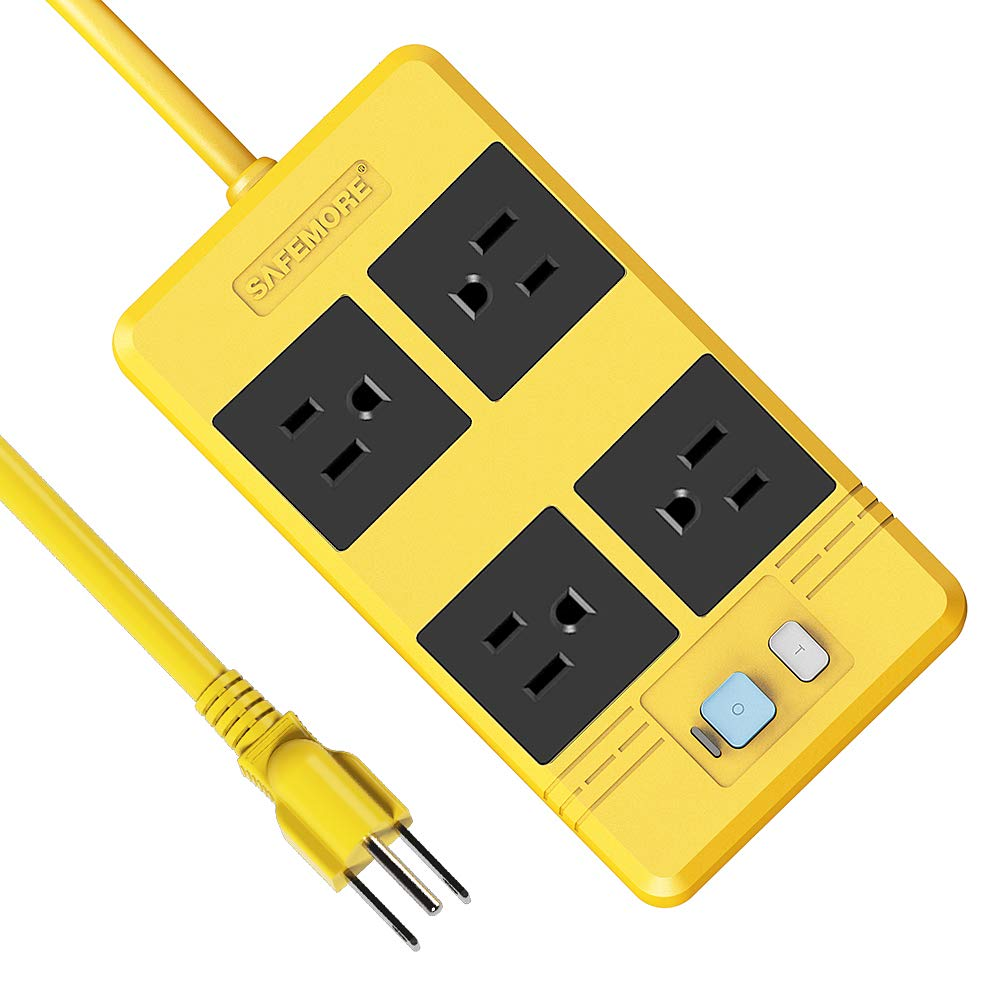 SAFEMORE GFCI Power Strip 4 Outlet Surge Protector with RCD Leakage Protector,16.4FT Heavey Duty Car Charging Long Extension Cord,15A/1650W Electrical Plug for Workshop/Garage/Home Theater(Yellow) by SAFEMORE
