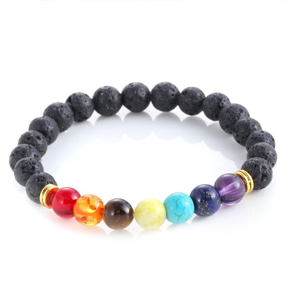Lava Rock Beads Bracelet Elastic Chakra Stone Bracelet Bangle for Men Women 8mm zhongneng