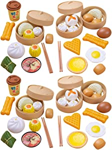 NUOBESTY Chinese Breakfast Toys, 58Pcs Breakfast Play Food Plastic Chinese Dim Sum Toy Food Cooking Toys Role Play Toys |26 X 26 X 10 cm
