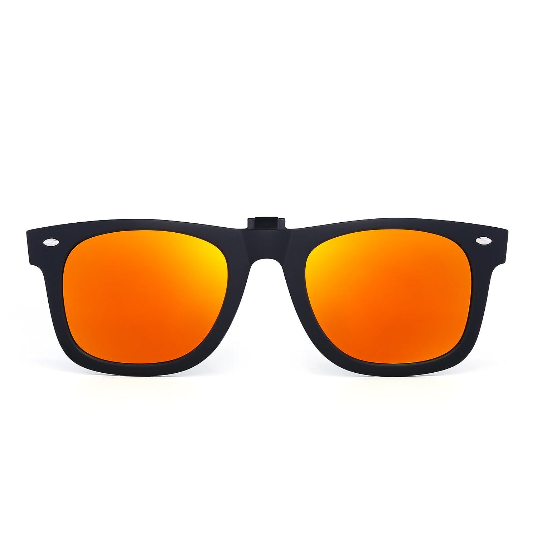 Polarizadas Clip en Gafas de Sol Flip up Anteojos de Espejo Hombre Mujer