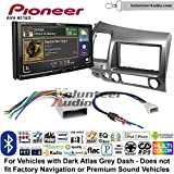 Volunteer Audio Pioneer AVH-601EX Double Din Radio Install Kit with CD/DVD Player Bluetooth USB/AUX Fits 2006-2011 Honda Civic (Dark Atlas Grey)