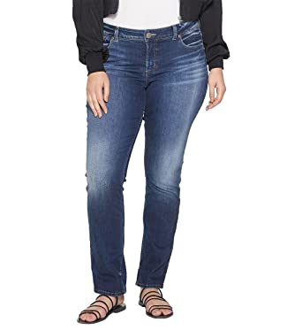Silver Jeans Womens Plus Size Elyse Mid-Rise Slim Bootcut Jeans Jeans