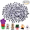 DIYASY 7mm Wiggle Googly Eyes 460 Pieces with Self-adhesive for DIY Crafts Home and School