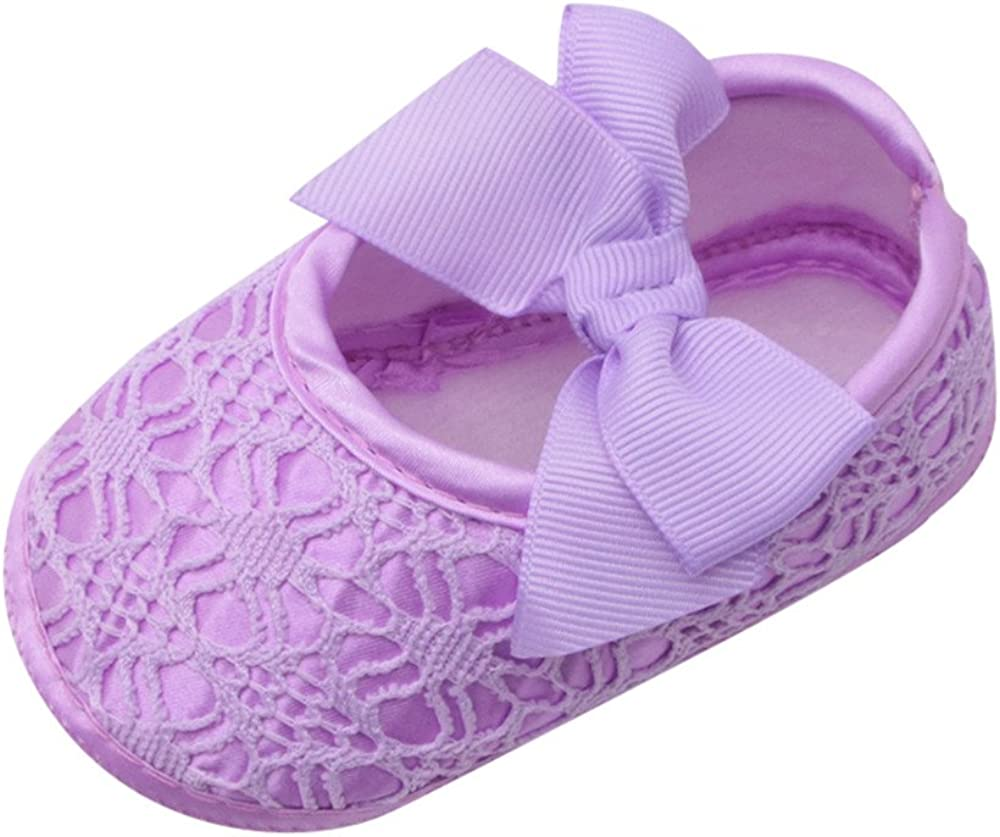 Kimloog Baby Girls Soft Sole Bowknot Prewalker Shoes Mary Jane Party Princess Crib Shoes