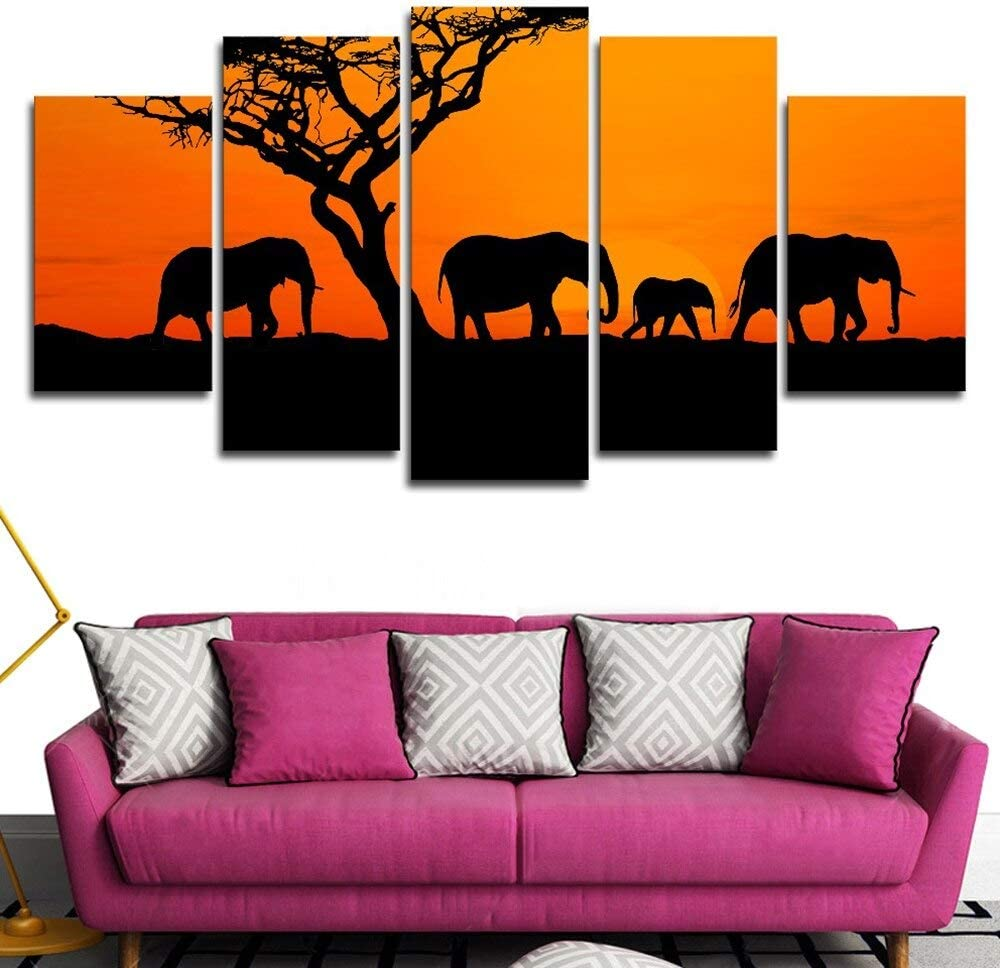OUPDJ 5 Canvas Paintings 5 Piece Four Elephants Sunset Walking Pictures Tree Poster Canvas Printed Wall Art Modern Home Decor Picture Painting Wall Decor