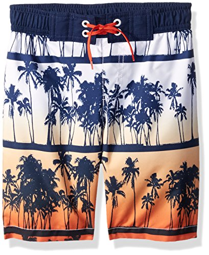Crazy 8 Little Boys' Drawstring Swim Trunk, Palm White/Orange Gradient, M (Trunks Palm Springs)