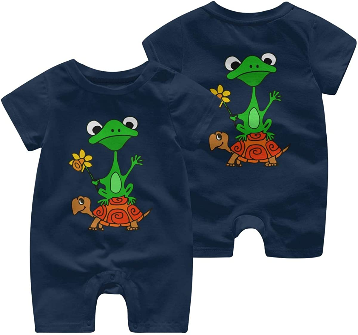 Baby Girl Short Sleeved Coveralls Funny Frog On Turtle Kid Pajamas