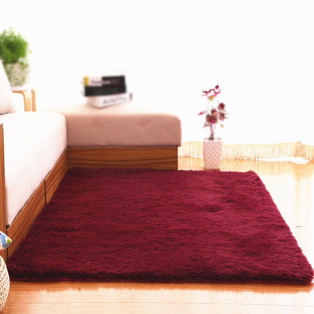 Wine red color carpet / home decoration solid color sofa carpet / living room coffee table bedroom carpet bed blanket ( Size : 160200cm )
