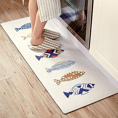 Abreeze 2 Pieces Fish Kitchen Mat,Anti-oil Kitchen Rug Rubber Backing Doormat Runner Area Mats Sets