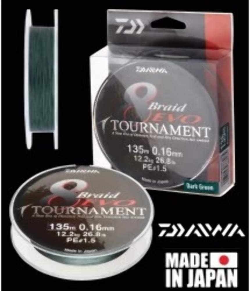 Daiwa Tournament 8 Braid EVO 135m dunkelgr/ün geflochtene Angelschnur