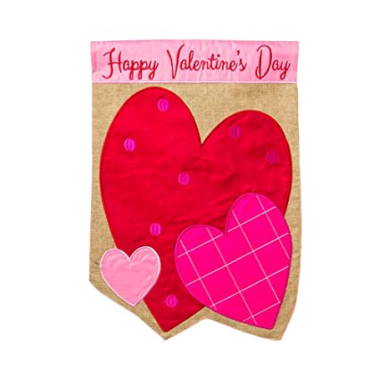 Happy Valentines Day Hearts Burlap Garden Flag