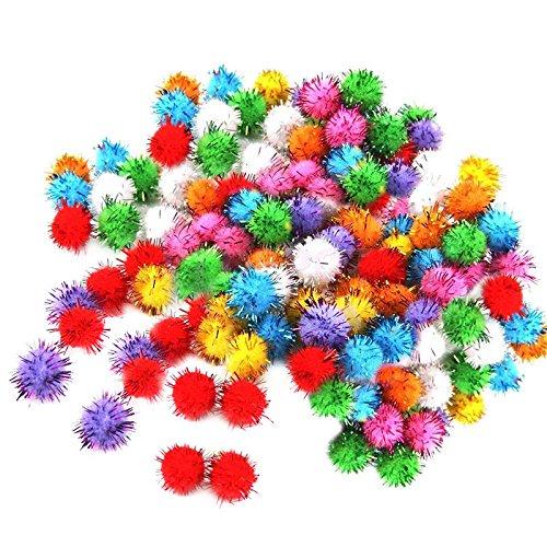 100pcs Mini Boule Coloré Paillette Brillant Tinsel Pompom Jouets Chien Chat