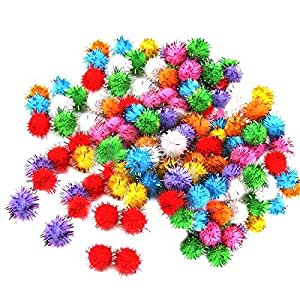 MagiDeal Mini Colorful Sparkly Glitter Tinsel Pompom Balls Toys f/Dog Cat Bird Pack of 100