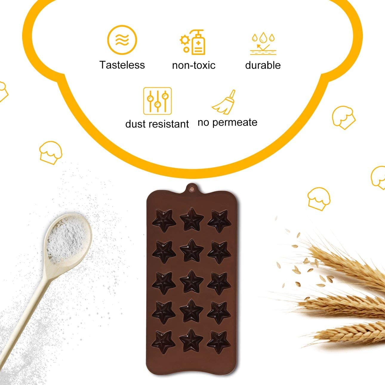 Liobaba 15 Slots Five-Pointed Star DIY Silicone Cake Mold Decorating for Making Homemade Bake Chocolate Candy Jelly Flexible