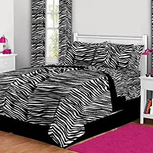 Amazon.com: Black White College Dorm Twin XL Zebra Print ...