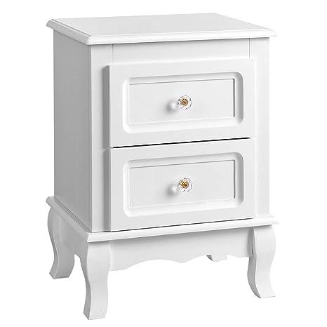 SONGMICS Mesilla de Noche Mueble de Dormitorio con 2 cajones 38,5 x 30,5 x 52,5 cm Color Blanco RDN01W