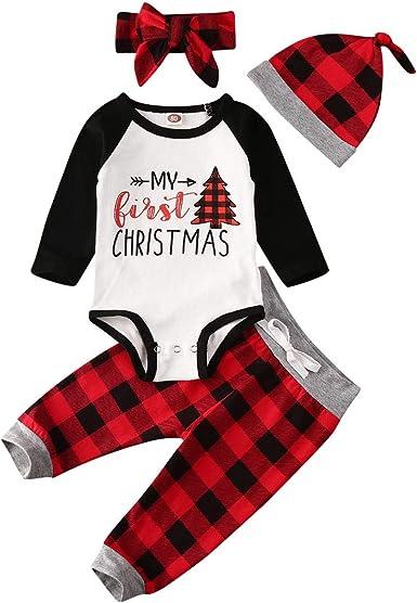 My First Christmas Newborn Baby Boy Girl Romper Deer Plaid Pants Hat Clothes Set