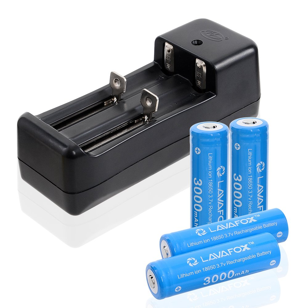 3.7V 18650 Rechargeable Li-ion Batteries with Dual Smart Lithium Battery Charger,High Capacity for flashlights and other high drain devices (4 Pcs, Blue) by LAVAFOX