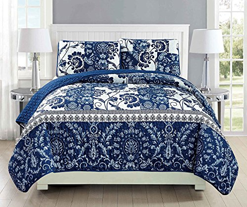 (Fancy Collection 3pc King/California King Oversize Quilted Bedspread Coverlet Set Floral Navy Blue White New)